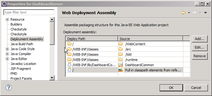 Eclipse Web Deployment Assembly settings screenshot